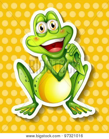 Happy green frog on yellow background