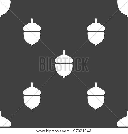 Acorn Icon Sign. Seamless Pattern On A Gray Background. Vector