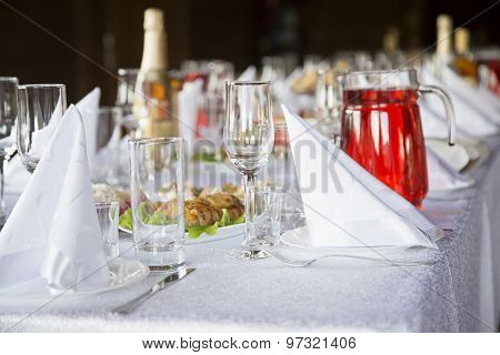 Decorated Table Setting With Wine Glass