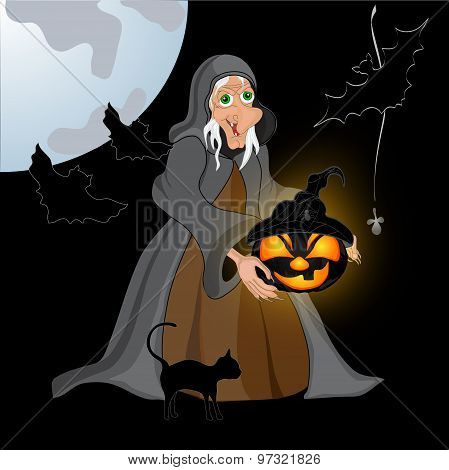 Halloween Night Background With Creepy Castle, Witch And Pumpkins. Vector Illustration