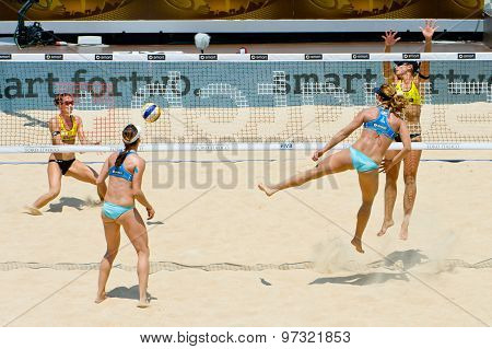 Rome, Italy - June 16 2011. Beach Volleyball World Championships. Greece And Spanish Women Teams