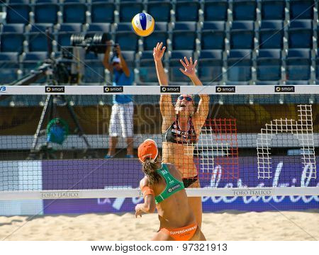 Rome, Italy - June 18 2011. Beach Volleyball World Championships. Woman Players In Action