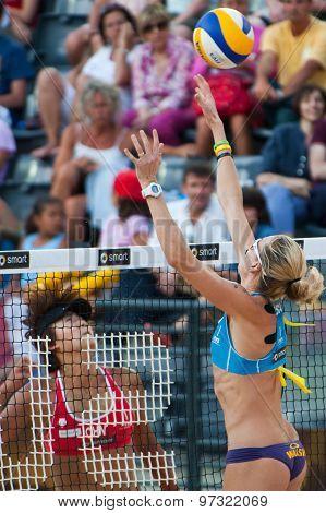 Rome, Italy - June 18 2011. Beach Volleyball World Championships. American Player Kerri Walsh Jennin