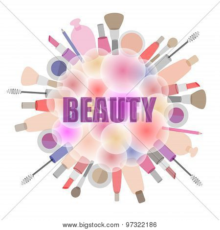 Background With Cosmetics And Beauty Products.