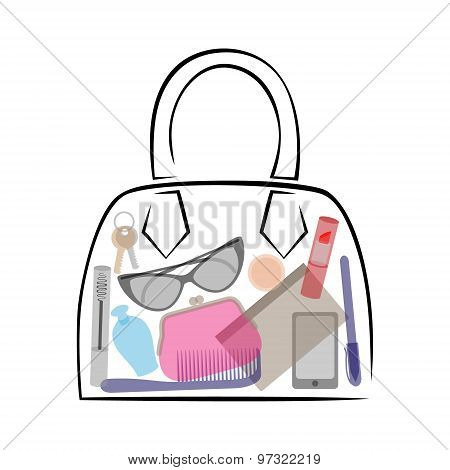 Female Bag With Contents. Cosmetic Accessories And Personal Items.