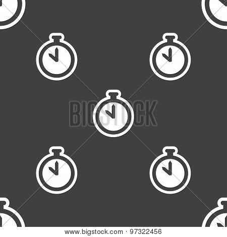 The Stopwatch Icon Sign. Seamless Pattern On A Gray Background. Vector