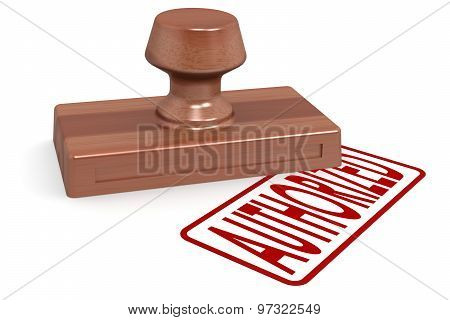 Wooden Stamp Authorized With Red Text