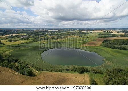 Aerial View Of Loeje Lake In Denmark
