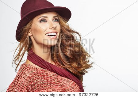 Autumn woman portrait. Shoot in studio