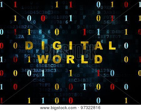 Information concept: Digital World on Digital background