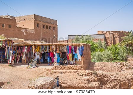 AIT BENHADDOU, MOROCCO - APRIL 10, 2015:  Stands with souvenirs in old town