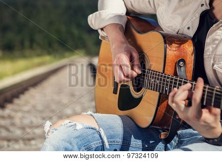 Man Hands With Guitar Close Up Image