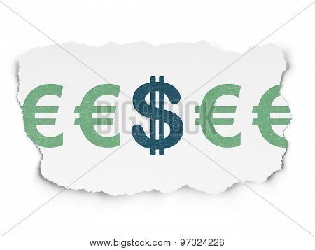 Currency concept: dollar icon on Torn Paper background