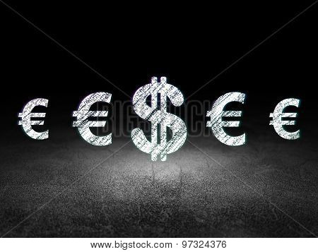Money concept: dollar icon in grunge dark room