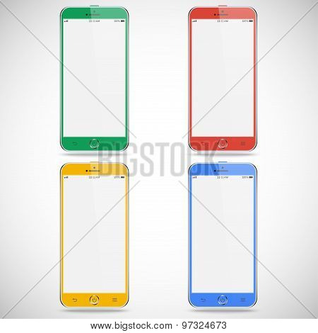 Set Of Realistic Detailed Colored Smartphones With Touch Screen Isolated On A Gray Background. Stock