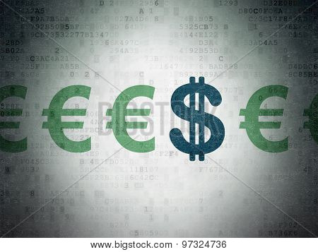 Banking concept: dollar icon on Digital Paper background