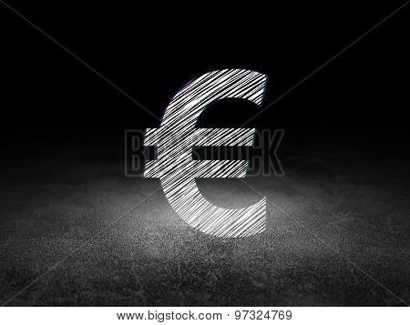 Currency concept: Euro in grunge dark room