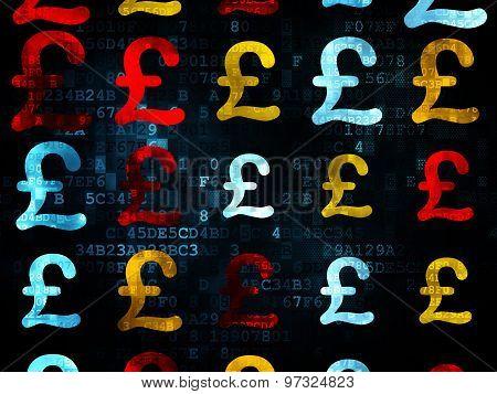 Money concept: Pound icons on Digital background