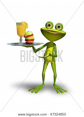Frog With A Tray With Juice
