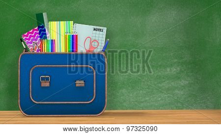 Back to school. A vintage backpack full of school supplies in front of a green blackboard.