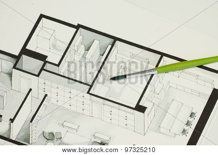Single green brush set on real estate floor plan architectural isometric sketch
