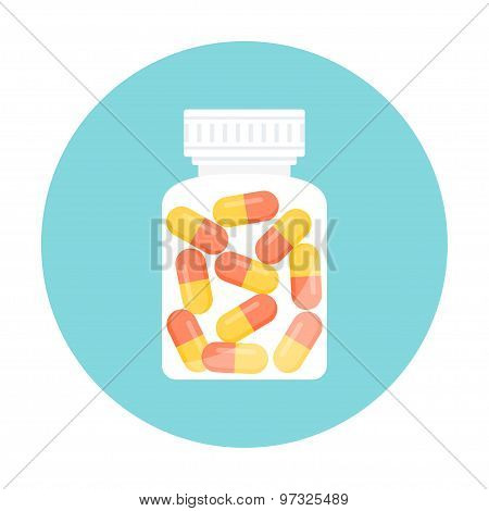 Medicine Capsule Pills in Bottle. Round Icon. Vector EPS 10