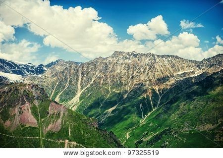 Beautiful Summer Landscape Of Big Caucasus Mountains