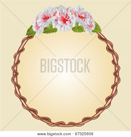 Round Frame With Whites Hibiscus Vector