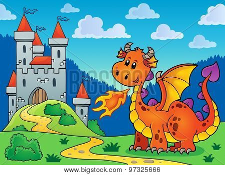 Happy orange dragon near castle - eps10 vector illustration.