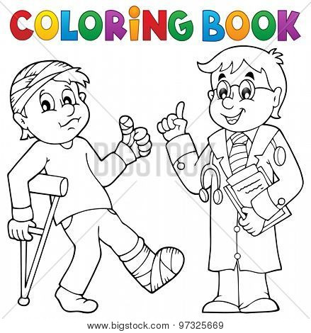 Coloring book with patient and doctor - eps10 vector illustration.