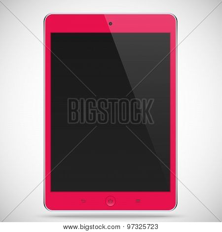 Realistic Detailed Tablet With Touch Screen Isolated On A Gray Background. Stock Vector Illustration