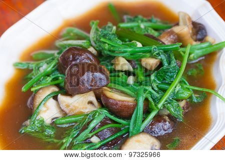 Fried Chayote vegetable in oyster sauce with shiitake