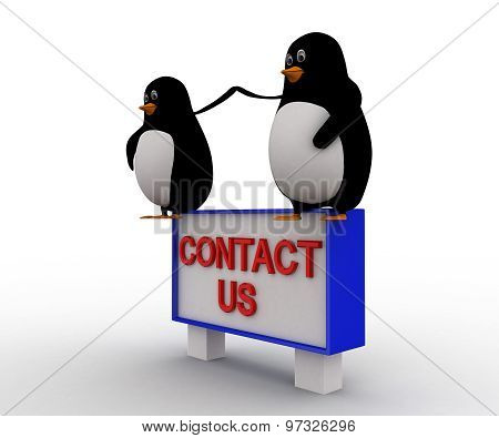 3D Penguin Sitting On Constact Us Sing Board Concept