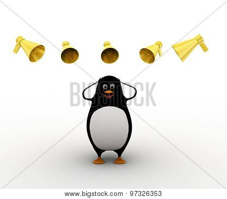 3D Penguin Between Many Speaker Speaks Loudly Concept