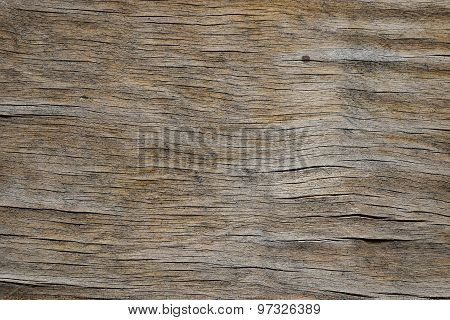 Vintage Wooden Faded Aged Board With Cracks, Checks And Defects
