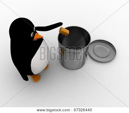 3D Penguin Throwing Waste In Dustbin Concept