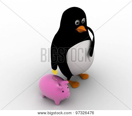 3D Penguin Put Coin In Piggybank Concept