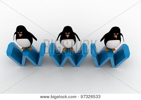 3D Three Penguins Standing On Www Text Concept