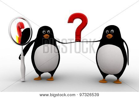 3D Two Penguin Support Question Mark And On Penguin Holding Maganifying Glass Concept