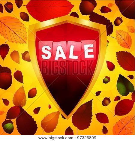 Autumn Sale Label Over A Shield