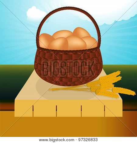 Wicker Basket With Eggs On The Table
