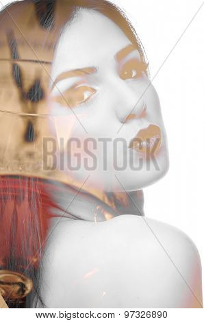 Double exposure photo of young woman sending kiss, red wine and five to twelve on a clock