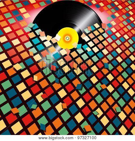 Vinyl Record Breaking Coloured Tiles Background