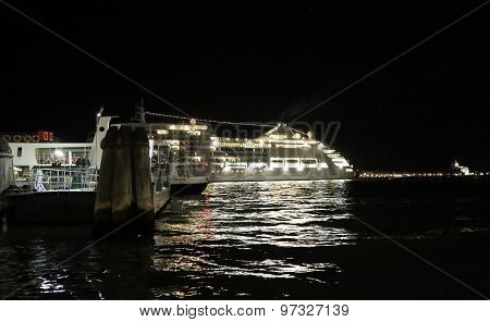 Venice, Ve - Italy. 10Th July, 2015: Cruise Ship Departs From Venice At Night With All The Lights On