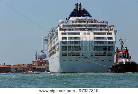 Venice, Ve - Italy. 14Th July, 2015:  Powerful Tugboat Used To Drive Large Cruise Ships Away From Th