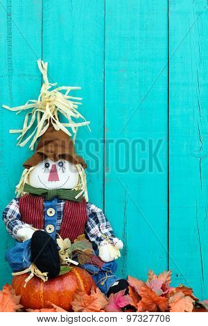 Scarecrow sitting on pumpkin by fall leaves