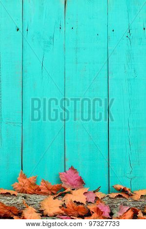 Rustic wood background with autumn leaves on log