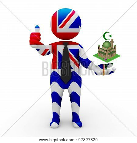 3d businessman people British Indian Ocean Territory - Muslim mosque and Islam