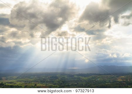 Sunray Over Lake And Mountain In Khao Kho District, Thailand