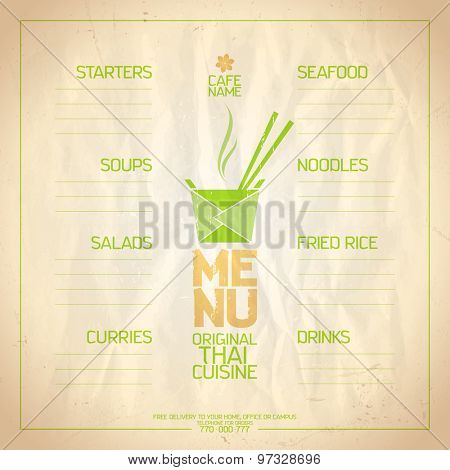 Thai food menu list with place for dishes name.